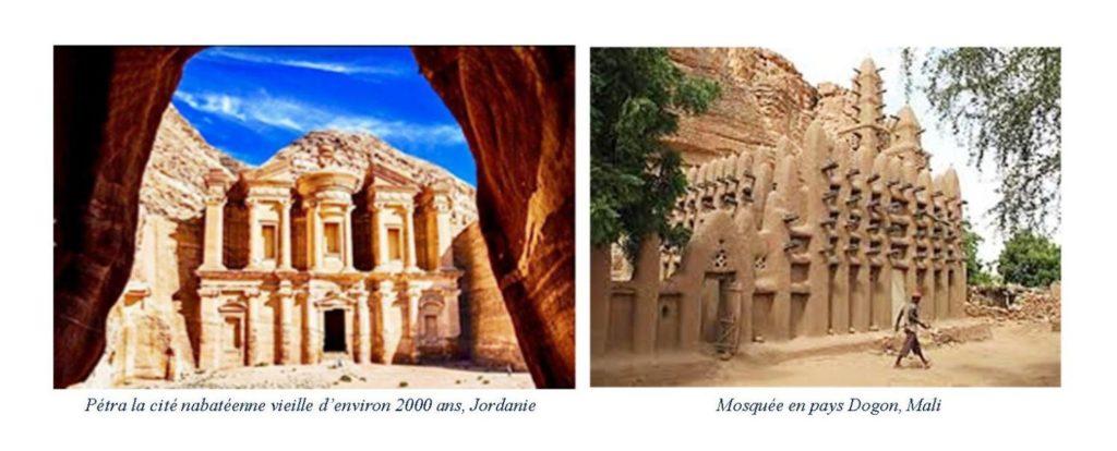 Petra la cité nabatéenne(Jordanie) et une Mosquée en pays Dogon (Mali)